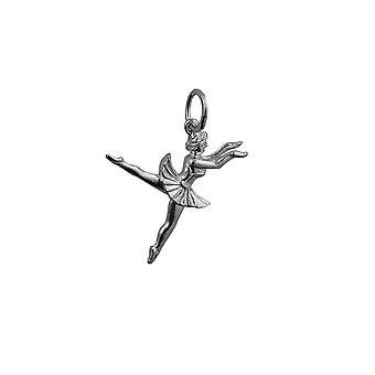 Silver 21x17mm Ballet Dancer Pendant or Charm