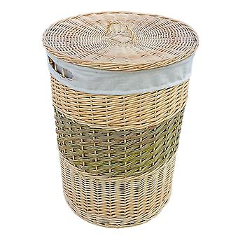 Two Toned Round Wicker Laundry Basket with Lid