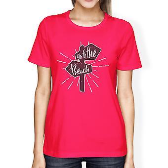 Ga naar strand uniek zomer Vibes ronde hals katoen Tshirt voor vrouwen