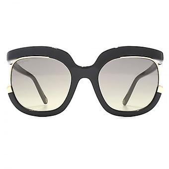 Salvatore Ferragamo Cut Out Square Sunglasses In Black