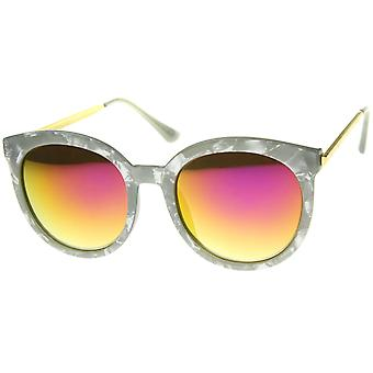 Womens Oversized Marble Finish Metal Temple Mirrored Lens Round Sunglasses