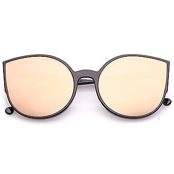 Women's Cat okulary przeciwsłoneczne z Slim ramiona okrągłe kolorowe lustro płaskie soczewki 56mm