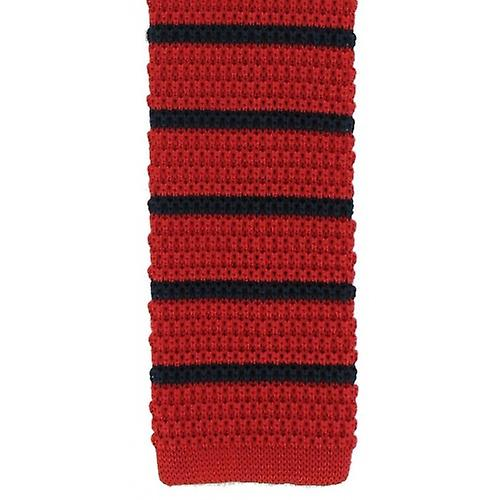 Michelsons of London Silk Knitted Striped Skinny Tie - Red/Navy