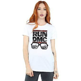 Run DMC Women's Logo Glasses Boyfriend Fit T-Shirt