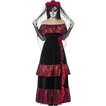 Smiffys Day Of The Dead Bride Costume Black With Dress & Rose Veil (Costumes)