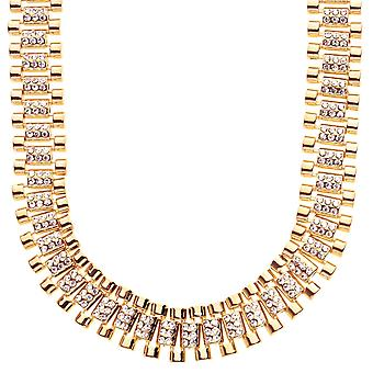 Iced out hip hop bling necklace - CZ LINK 15mm gold