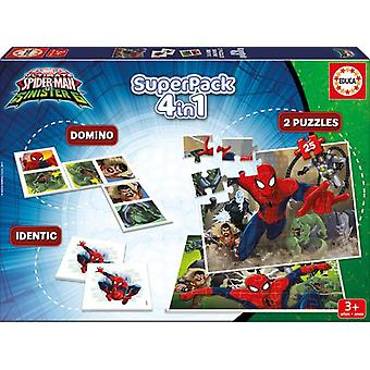 Educa Superpack Spider-man (Toys , Boardgames , Traditionals , Puzzles , Skills)