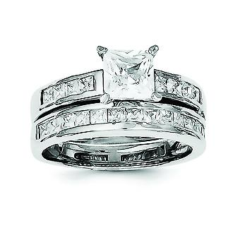 Sterling Silver Polished 2-Piece Cubic Zirconia Wedding Set Ring - Ring Size: 6 to 8