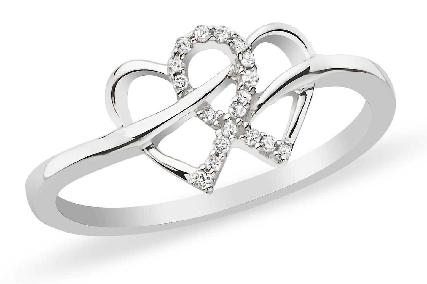 Affici Sterling Silver Large Twin Hearts & Kiss Ring 18ct White Gold Plated ~ Diamond CZ Gems