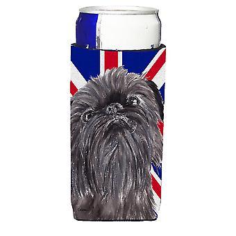 Brüssel Griffon med Engish Union Jack britiske flagget Ultra drikke isolatorer f