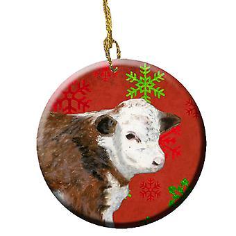Baby Kalb rot Schneeflocken Urlaub Weihnachten Keramik Ornament