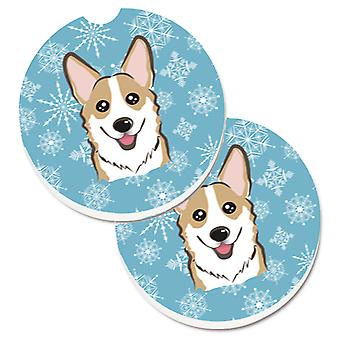 Snowflake Sable Corgi Set of 2 Cup Holder Car Coasters