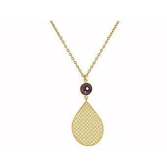 GEMSHINE ladies necklace mandala with Amethyst gemstone. Rose gold 45 cm necklace or pendant made of silver, gold plated. Made in Madrid, Spain. In the elegant gift box.
