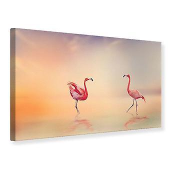 Canvas Print romantische Flamingo 's