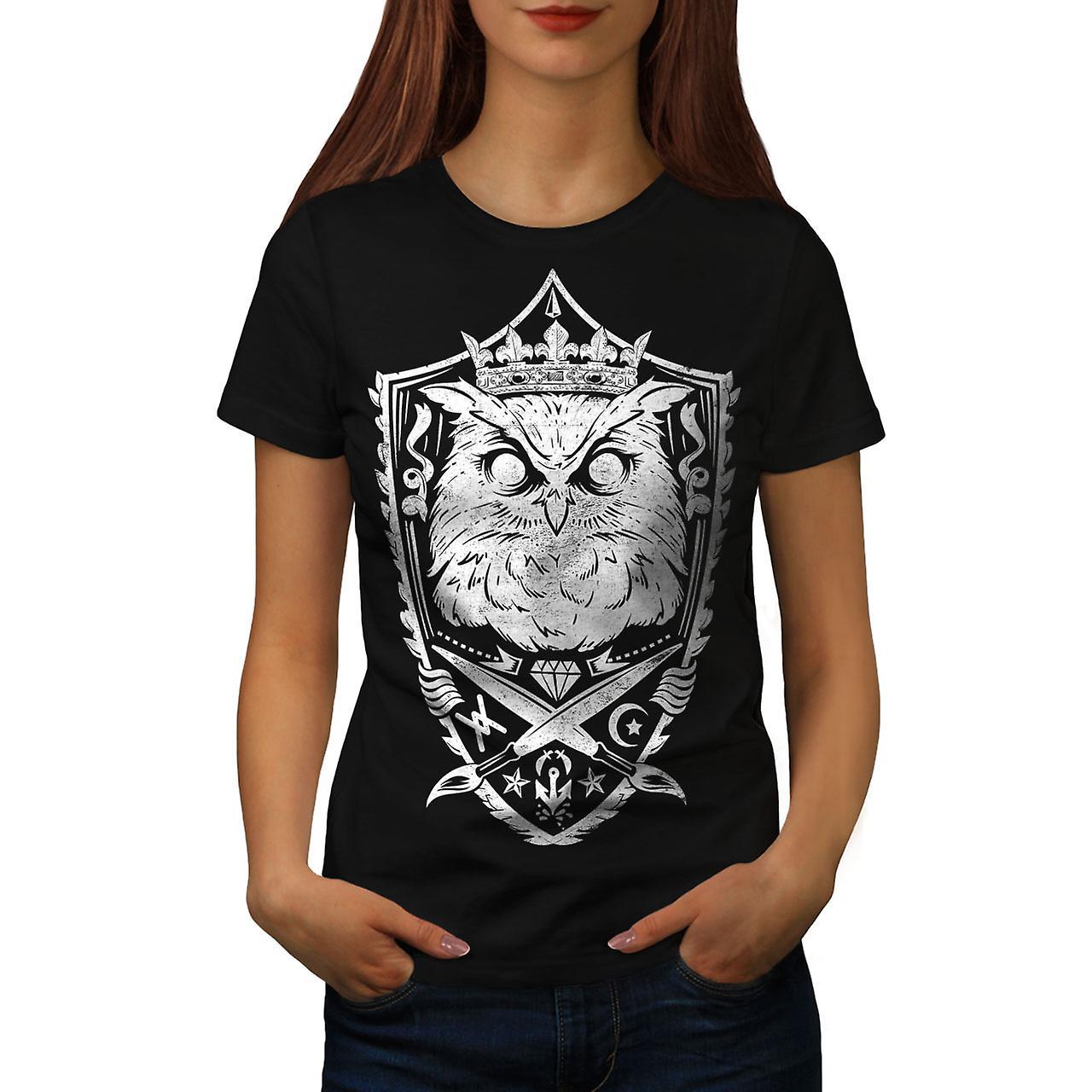 Owl King Knight Animal Women Black T-shirt | Wellcoda