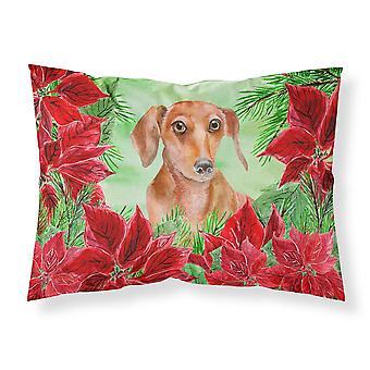 Red Dachshund Poinsettas Fabric Standard Pillowcase