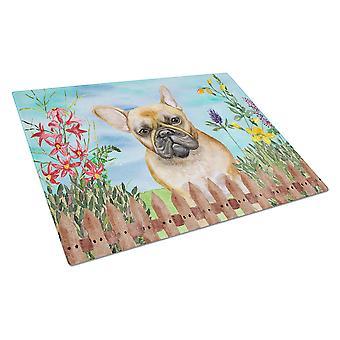 Carolines Treasures  CK1250LCB French Bulldog Spring Glass Cutting Board Large