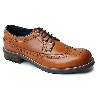 Mens Leather Grip Sole Smart Dress Brogues Lace Up Formal Shoes