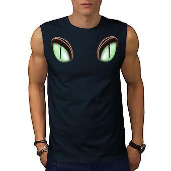 Eyes Animal Preditor Men NavySleeveless T-shirt | Wellcoda