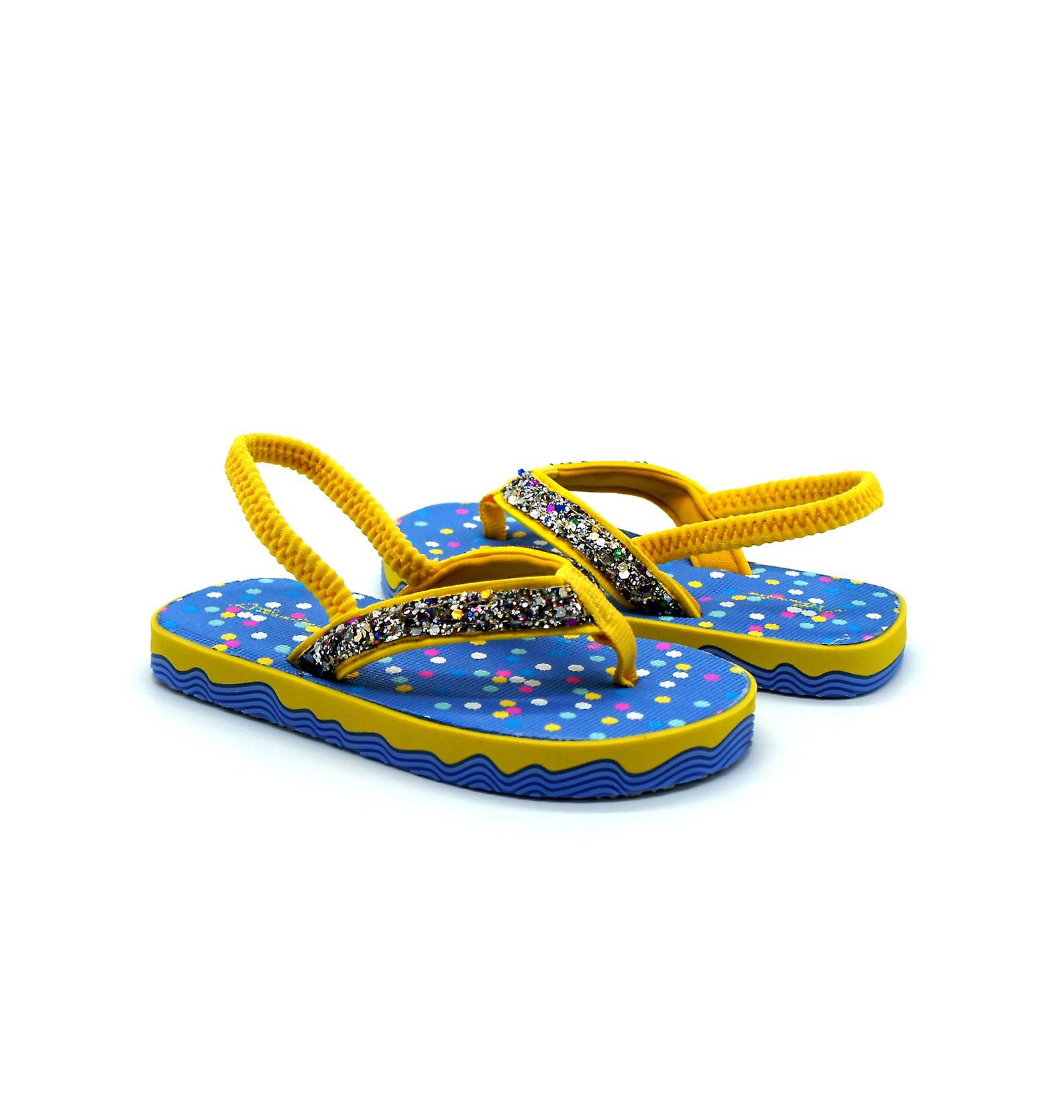 Atlantis Shoes Kids Girls Supportive Cushioned Comfortable Sandals Flip Flops Twinkle Yellow