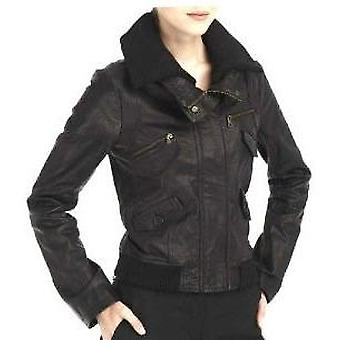 Womens Black Leather Jacket With Removable Collar By Livid