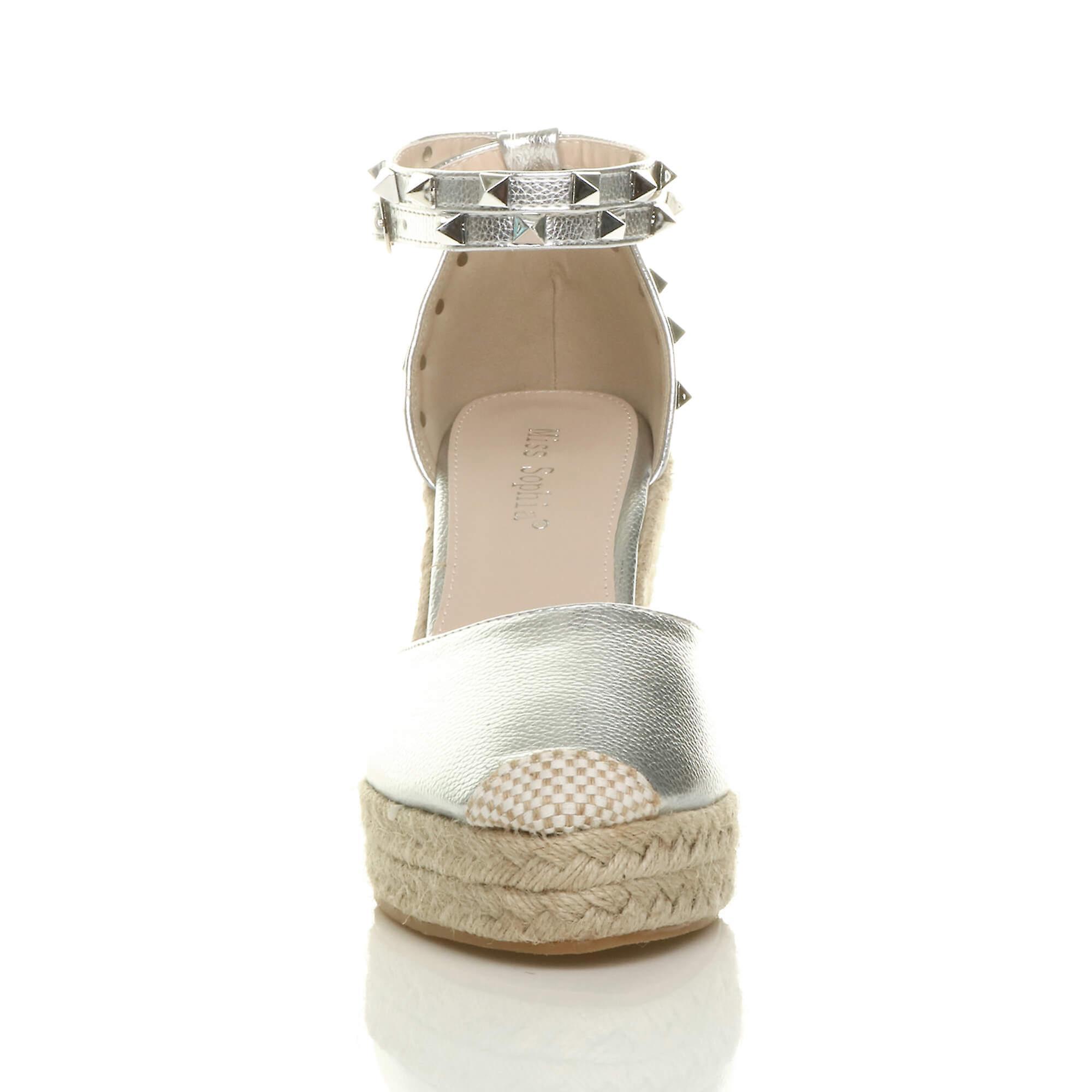 Ajvani womens high wedge heel heel heel studded ankle strap espadrilles shoes sandals f95d05