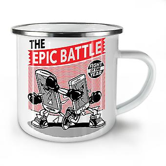 Epic Phone Battle Geek NEW WhiteTea Coffee Enamel Mug10 oz | Wellcoda