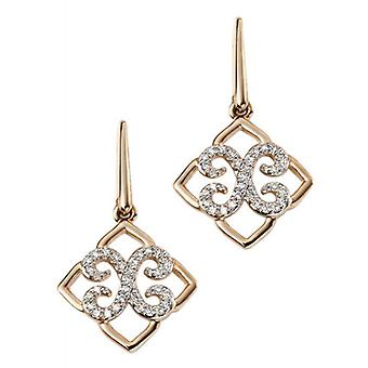 Elements Gold Diamond Lace Drop Earrings - Gold/Clear