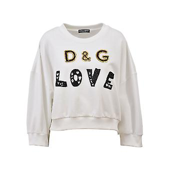 Dolce E Gabbana women's F9A96ZFU7DUW0111 white cotton Sweatshirt