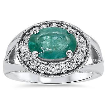 1 1/2ct Emerald & Diamond Vintage Halo Ring 14K White Gold