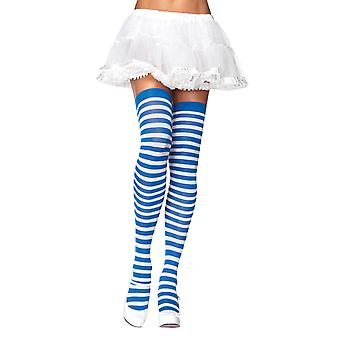 Dorothy Alice In Wonderland Blue White Striped Women Costume Nylon Stockings