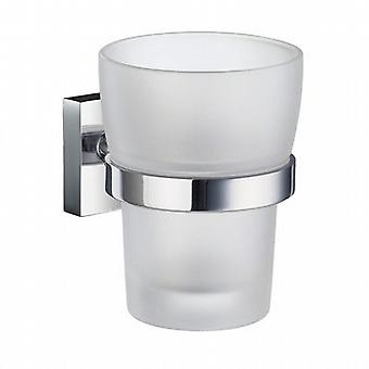 House Holder with Frosted Glass Tumbler - Polished Chrome RK343