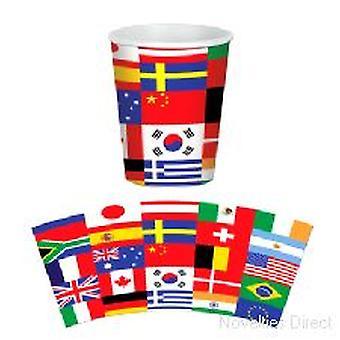 Internacional bandera tazas (8 tazas por paquete)