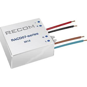 Constant current LED driver 7 W 350 mA 21 Vdc Recom Lighting RACD07-350 Max. operating voltage: 264 V AC