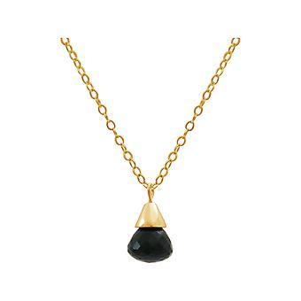 Gemshine - Damen - Halskette - Anhänger - Vergoldet - Onyx - Tropfen - Schwarz - 1,5 cm