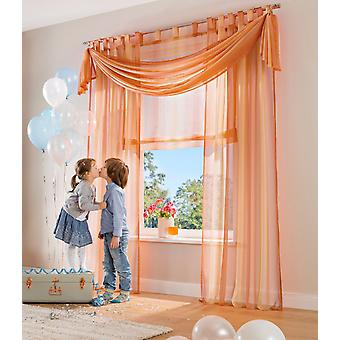 «Ma maison 2 set de rideaux» Rino «rouge transparent Voile H/W 225 x 140 cm.