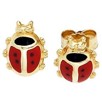 Kids Ladybug Stud Earrings red 333 gold yellow gold earrings for girls