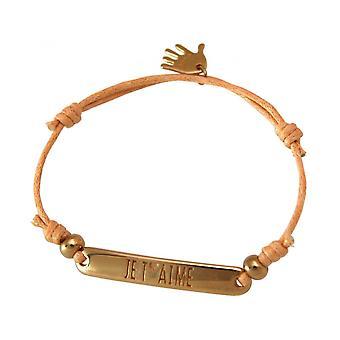 Mujeres - pulsera - grabado - POR T ´ AIMÉ - oro plateado - brillante coral rosa