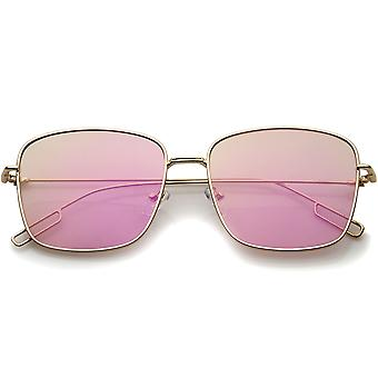Minimal Wire Metal Frame Color Mirror Flat Lens Square Sunglasses 58mm