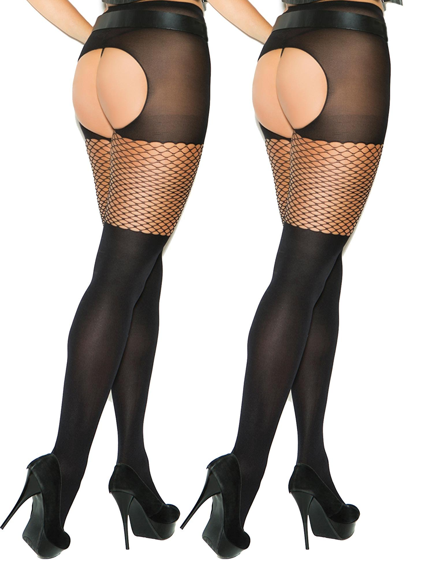 d26bd41cc92 Womens Plus Size Opaque Crotchless Diamond Top Pantyhose Tights