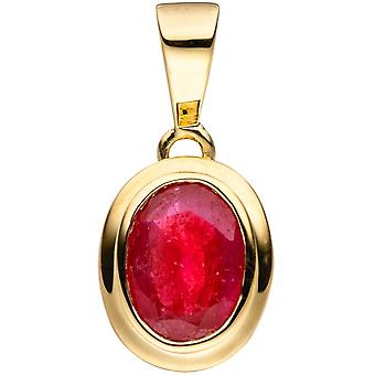 Pendant-oval 585 Gold Yellow Gold 1 Ruby red gold Ruby pendants