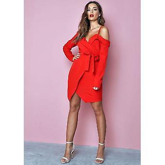 Asymmetric Tailored Blazer Wrap Mini Dress Red