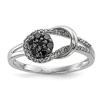 Sterlingsilber polierte Zinke set Geschenk Box rhodiniert schwarz und weiß Love Knot Diamantring - Ringgröße: 6 bis 8
