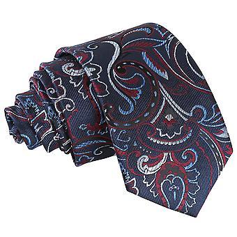 Marine & donkerrood Cypress Paisley slanke Tie