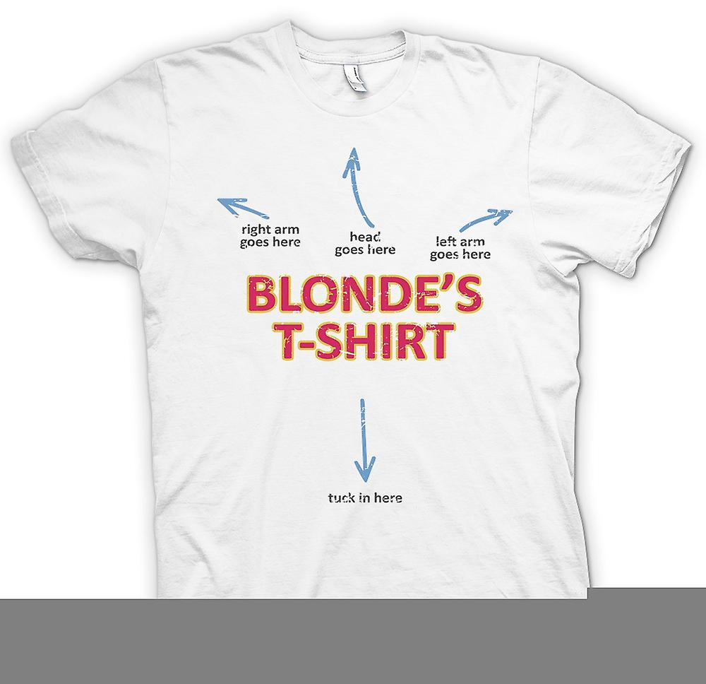 Hierhin kommt die Mens T-shirt - Blondinen T Shirt - Arm - Kopf geht hier - lustig