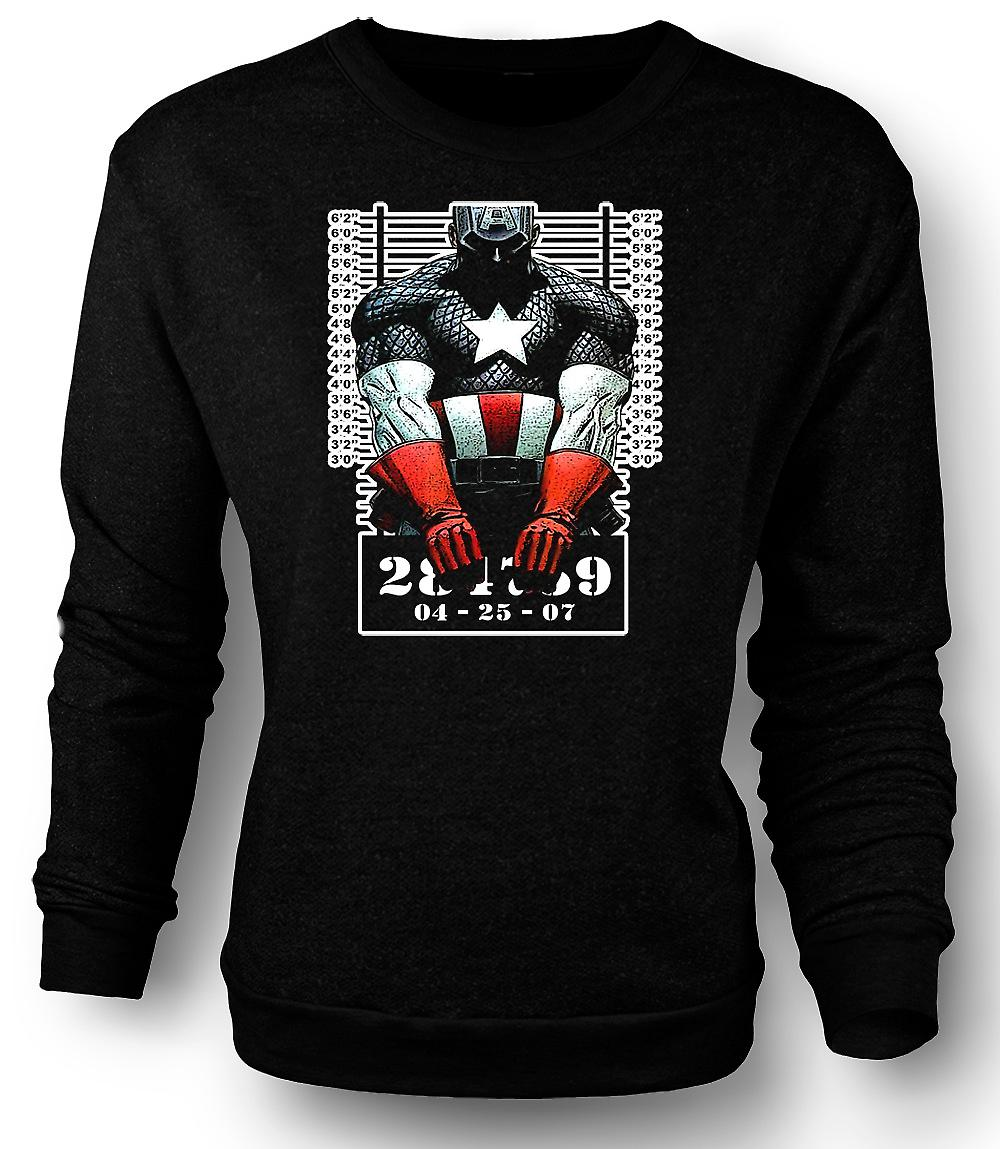 Herren Sweatshirt Captain America - Cartoon - Fahndungsfoto