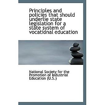 Principles and policies that should underlie state legislation for a state system of vocational educ