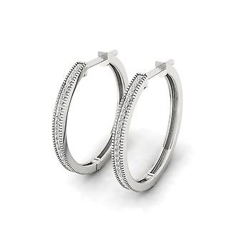 IGI Certified S925 Sterling Silver 0.17Ct Natural Diamond Row Hoop Earrings