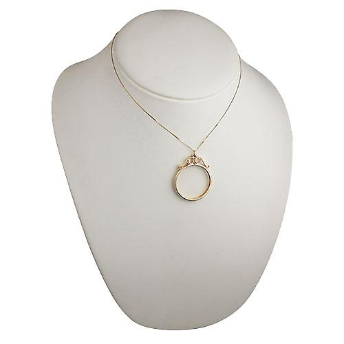 9ct Gold 34x40mm £5 Sovereign mount channel with 2 scrolls Pendant with a curb Chain 16 inches Only Suitable for Children