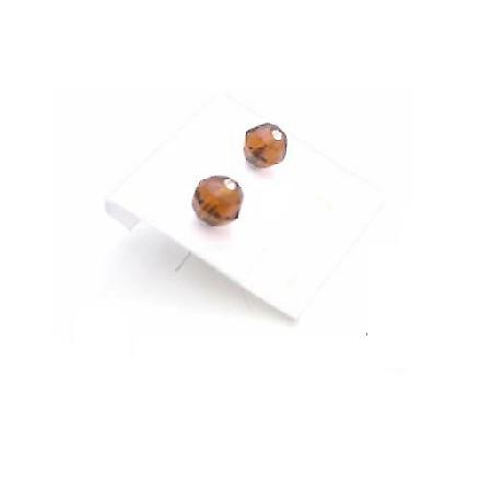 Brown Crystals Smoked Topaz Girls Crystal Under $3 Stud Earrings